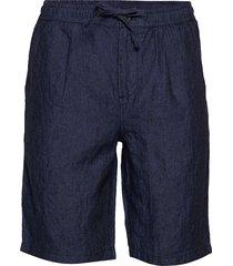birch loose linen shorts - vegan bermudashorts shorts blå knowledge cotton apparel