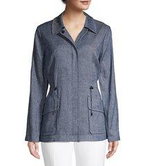 elie tahari women's helga linen-blend utility jacket - light indigo - size s