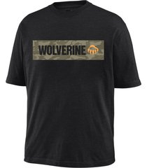 wolverine men's block short sleeve graphic tee black, size m