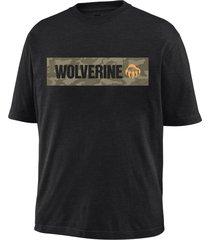 wolverine men's block short sleeve graphic tee black, size m
