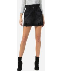 vervet women's paperbag distressed mini skirt