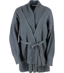 brunello cucinelli cardigan sweater with button and belt in half english rib