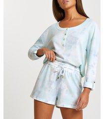 river island womens blue waffle tie dye lounge shorts