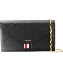 thom browne removable-chain pebbled envelope clutch - black