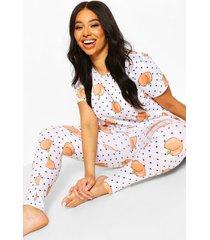 plus pyjamabroekset met perzikprint, wit