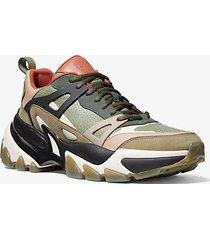 mk sneaker nick in pelle - militare (verde) - michael kors