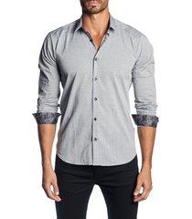 men's jared lang trim fit sport shirt, size xx-large - grey