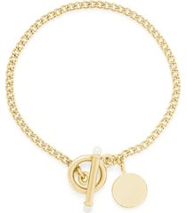 brook & york 14k gold plated stella pearl toggle bracelet