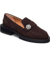 suede loafers låga skor brun ganni