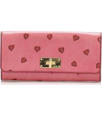 prada saffiano heart long wallet pink, red sz: