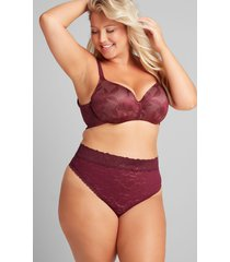 lane bryant women's stretch lace high-waist thong panty 12 grape wine