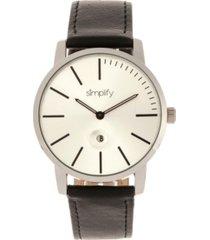 simplify quartz the 4700 silver case, genuine black leather watch 40mm