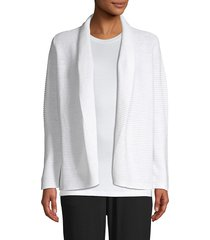 eileen fisher women's organic linen & cotton ribbed kimono cardigan - white - size l