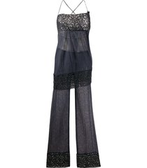 romeo gigli pre-owned beaded embroidery jumpsuit - blue