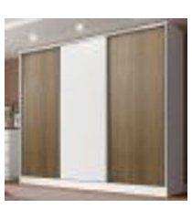 guarda roupa casal 100% mdf madesa royale 3 portas de correr - branco/rustic/branco