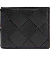 intrecciato leather bifold wallet