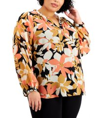 calvin klein plus size long sleeve printed blouse