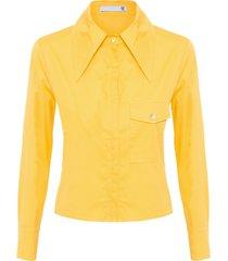 camisa feminina gola pontuda - amarelo