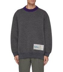 logo tag contrast collar knit sweatshirt