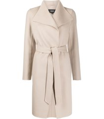 mackage belted wrap-over laila wool coat - neutrals
