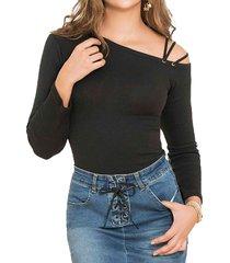 blusa amberes negro para mujer croydon