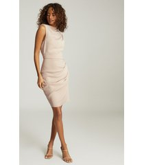 reiss bali - ruched bodycon dress in nude, womens, size 14