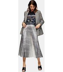 silver metallic pu pleated midi skirt - metalic silver
