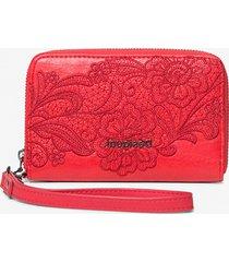 floral coin wallet zipper - red - u