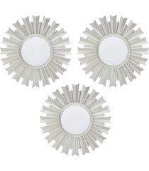 conjunto 3 espelhos royal de parede incolor - prata - dafiti