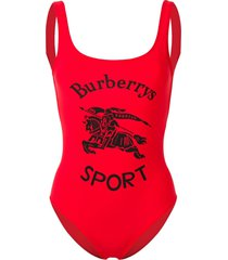 burberry archive logo print swimsuit - red
