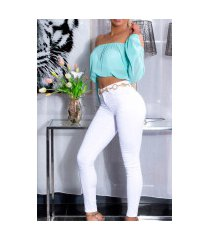 sexy hoge taille zomer skinny jeans wit
