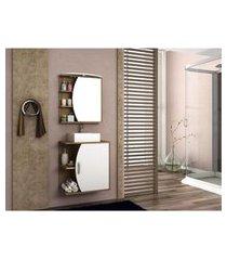 gabinete banheiro mdf com cuba e espelheira com nichos