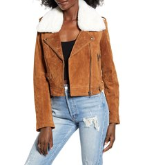 women's blanknyc removable faux fur collar suede moto jacket, size large - beige