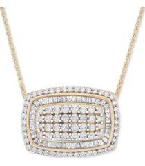 "wrapped in love diamond cluster 18"" pendant necklace (2 ct. t.w.) in 14k gold"