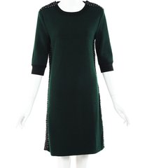 chanel wool cashmere tweed dress green sz: s
