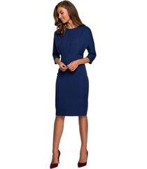 korte jurk style s242 jurk met vleermuismouwen - marineblauw