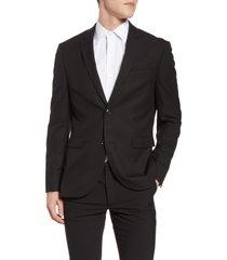 men's topman skinny fit textured suit jacket, size 46 32 - black