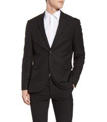 men's topman skinny fit textured suit jacket, size 34 r - black