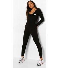 woman getailleerde jumpsuit met label, black