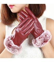 guanti in pelle pu inverno pelliccia elegante coniglio pu guanti morbidi a pieno schermo con dita