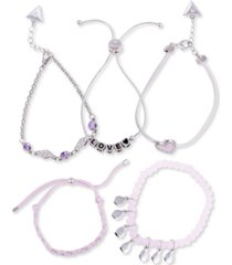 guess silver-tone 5-pc. set crystal & heart mixed bracelets