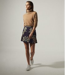 reiss jenny - printed mini skirt in navy, womens, size 14