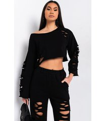akira not pressed for you long sleeve distressed crop sweater