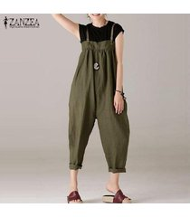 zanzea mujeres strappy plus size long romper jumpsuit playsuit club party overol -ejercito verde