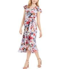 vince camuto floral-print chiffon flutter-sleeve dress
