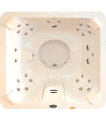 banheira spa hidromassagem j185 vip com 32 jatos 180x180x089cm para 4 pessoas com aquecedor e cromo led, sem fechamento - jacuzzi® - jacuzzi®