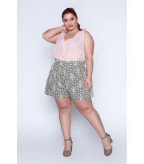 shorts plus size estampado feminino