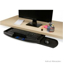 mind reader under desk keyboard holder with closable writing utensil compartment