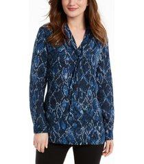 nine west tie-neck snake-print blouse