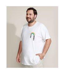 "camiseta masculina plus size pride felicidade"" arco-íris manga curta gola careca branca"""